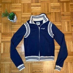 American Eagle Preppy Varsity Blue Zip Up Jacket
